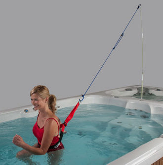 900 Swim Spa with woman using swim tether