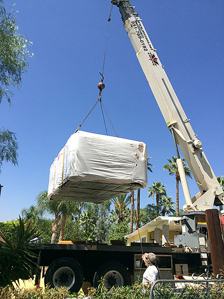 Crane delivery of spa