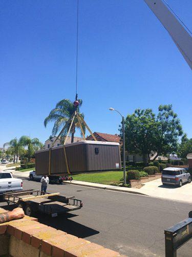 Crane delivery of spa